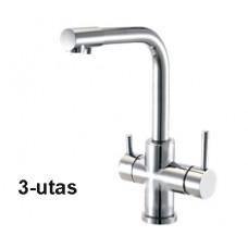 Konyhai csaptelep víztisztítóhoz, 3-utas, Modern dizájn, HAJLÍTOTT, INOX  [FC208-3M]