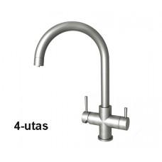 Konyhai csaptelep víztisztítóhoz, 4-utas, Klasszik dizájn, ÍVES, INOX [FC209-4M]